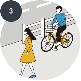 On sidewalks,<br>pedestrians have the highest priority,<br>and one should riding slowly close to the side of roadway.